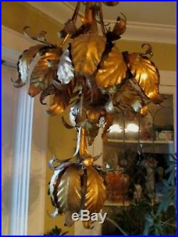 Vintage Italian Gold Metal Tole Tulips Lotus Swag Chandelier Hanging Lamp Light