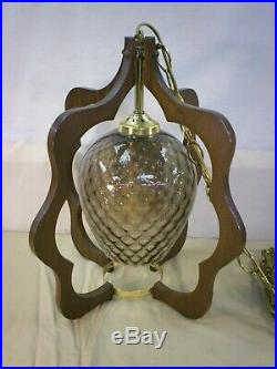 Vintage Italian Hanging Swag Lamp Light Fixture 16 Wood and Glass