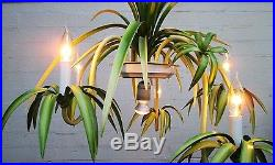Vintage Italian Tole Hanging Spider Plant Fern Six Light Chandelier Swag Lamp