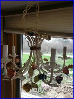 Vintage Italian Tole Painted Metal 5 Light Hanging Chandelier Floral Garden Lamp