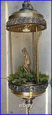 Vintage Johnson Industries Hanging Oil Swag Rain Lamp Nude Greek Goddess