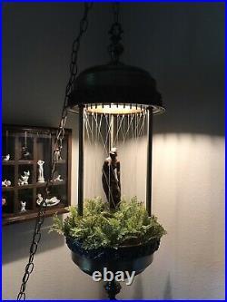 Vintage Johnson Industries MCM Hanging Oil Rain Lamp Nude Lady Greek Goddess