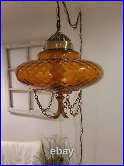Vintage LARGE Amber Swag Light Hanging Pendant Mid-Century Lamp Plug in REWIRED