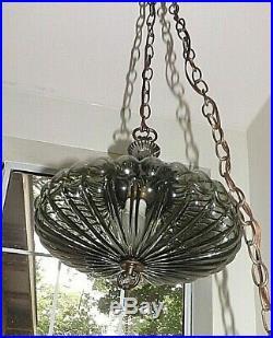 Vintage L&L WMC 8584 Hanging Glass Pendant Swag Lamp Light Fixture Round Donut