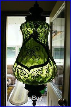 Vintage L&l Wmc Retro Large Ornate Glass Swag Hanging Lamp Light