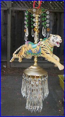 Vintage Lamp SWAG Chandelier Porcelain Tiger Carousel Emerald Beads Crystal pris