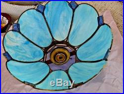 Vintage Lamp Shade for Hanging Light Blue Slag Glass Shade Tiffany Style