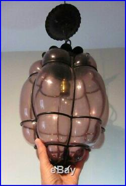 Vintage Lamp Venetian Caged Bubble Murano Blown Glass HANGING Light Purple amber