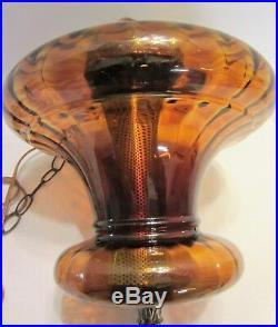 Vintage Large Amber Mid Century Hanging Swag Lamp w Diffuser