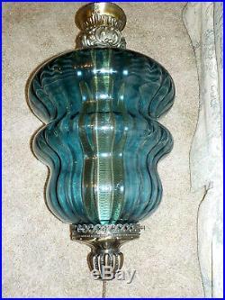 Vintage Large Beautiful Blue Glass Hanging Swag Lamp Light