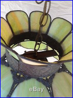 Vintage Large Green Stain Glass Hanging Lamp Light Fixture Cool! 18