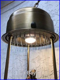 Vintage Large Hanging Mineral Oil Rain Motion Brass Lamp Nude Greek Goddess Lady
