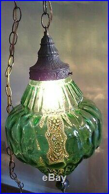 Vintage Large Mid Century Green Glass Swag Hanging Light Lamp