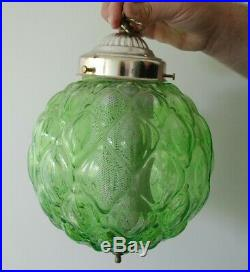 Vintage Large Mid Century Green Glass Swag Hanging Light Lamp 1960's