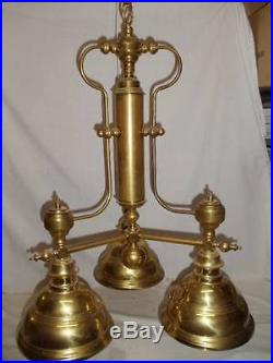 Vintage Large Polished Brass 3 Light Hanging Chandelier Replica Gas Lamp Style