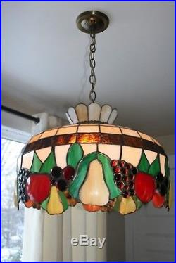 Vintage Large Tiffany Style Stained Glass Hanging Lamp Chandelier Light Fixture