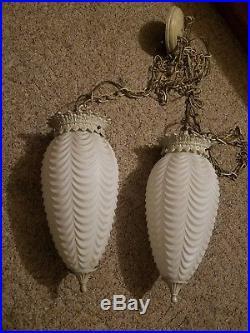 Vintage Large White DECO Shade Swag Hanging Lamp Light Globe Drape Design #2