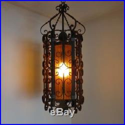 Vintage Large Wrought Iron Spanish Medieval Gothic Hanging Swag Lamp Light Amber