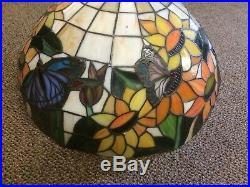 Vintage Leaded Glass Hanging Lamp Sunflowers Butterflies Tan Tiffany style