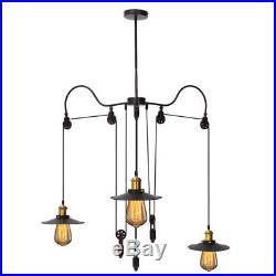 Vintage Loft Pulley 3 Way Ceiling Hanging Pendant Light Chandelier Lamp Shade