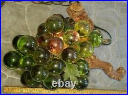 Vintage Lucite Acrylic Grape Cluster Hanging Swag Light Large Working Cond