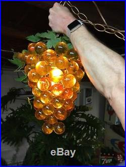 Vintage Lucite Acrylic Rare Grape Cluster Hanging Swag Light Lamp 1960's