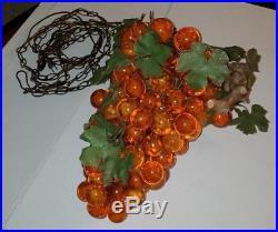 Vintage Lucite Orange Glass Grape Cluster ART Deco Hanging Swag Lamp