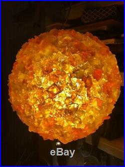 Vintage MCM Chunky Rock Candy Lucite Resin Swag Lamp Hanging Light