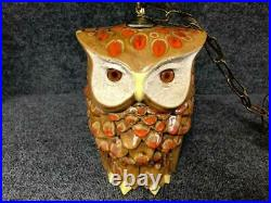 Vintage MCM Dual/Double/Two Sided Ceramic Owl Swag Hanging Lamp Light Fixture