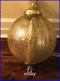 Vintage MCM Gold Optic Crackle Glass Hanging Light Swag Lamp 12W Globe Diffuser