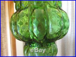 Vintage MCM Green Swag Lamp Hanging Light Glass Retro Fixture Hollywood Regency