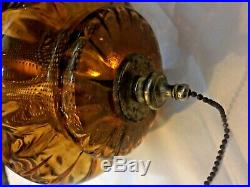 Vintage MCM Hollywood Regency Amber Glass Hanging Swag Chain Lamp Light Diffuser