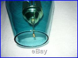 Vintage MCM Mid Century Danish Modern Teal Blue Hanging Swag Lamp