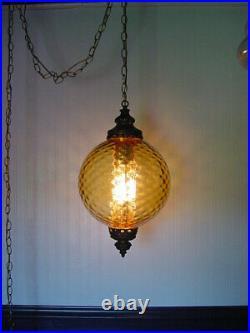 Vintage MCM Optic Glass Hanging Amber Light Swag Lamp 11 Globe