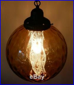 Vintage MCM Optic Glass Hanging Amber Light Swag Lamp 11 Globe with Gold Diffuser