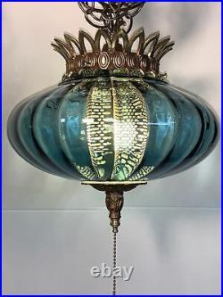Vintage MCM Real Blue Glass Swag Hanging Lamp Ceiling Light