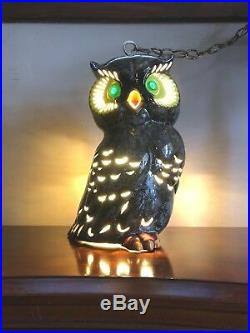 Vintage MCM Retro 16 OWL Swag HANGING LIGHT Fixture MID CENTURY Lamp POTTERY