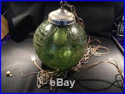 Vintage MCM Retro Green Crackled Glass Hanging Swag Chandelier Globe Light Lamp