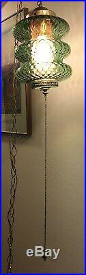 Vintage MCM Retro Green Glass Hanging Swag Lamp Light 60's