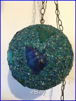 Vintage MCM Retro Green Hanging Swag Chandelier Globe Light Lamp MID Century