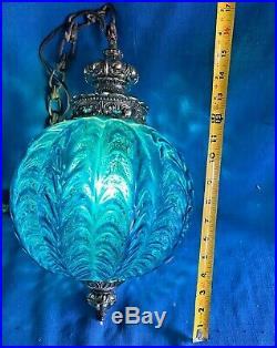 Vintage MCM Retro Hanging Swag Palor Light/Lamp Blue withdiffuser Drapery Glass