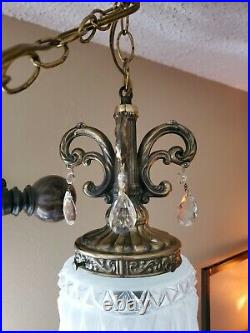 Vintage MCM Swag Lamp Hollywood Regency Pressed Glass Hanging Light Chain Cord