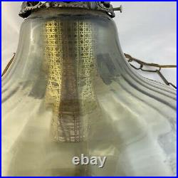 Vintage MCM UFO Swag Glass Lamp Hanging Lamp / Light with Diffuser