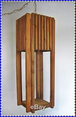 Vintage MID CENTURY 70's Wood Slats Large Hanging Chain Swag Lamp Light