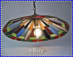 Vintage MID CENTURY Tiffany Style Leaded Glass Large Hanging Swag Lamp Light