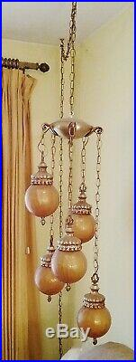 Vintage MID Century 5 Light Amber Crackle Glass Hanging Swag Lamp 1960's