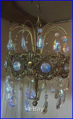 Vintage MID Century Atomic Retro Aurora Borealis Chandelier Hanging Lamp Nice