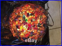 Vintage MID Century Chunky Lucite Resin Lava Rock Candy Hanging Swag Lamp Light