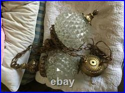Vintage MID Century Double Pineapple Cut Glass Chandelier Swag Hanging Lamp Pair