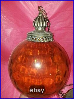 Vintage MID Century Hanging Swag Lamp Amber Dimpled Large Retro Light Rare Cool